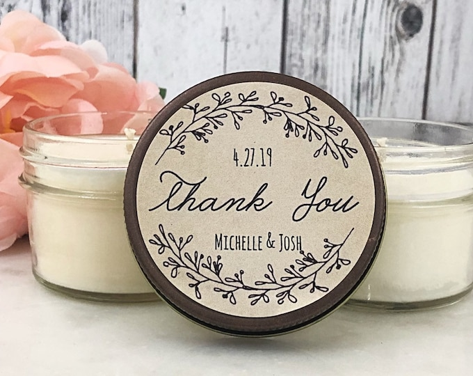 Rustic Wedding Favors - Set of 12 - Wedding Rustic - Wedding Candle Favors - Rustic Favors for wedding - Wedding Party Favors - Soy Candles