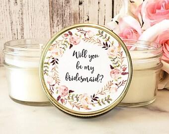 1 Will You Be My Bridesmaid Candle Favors - Bridesmaid Set - Bridemaids Proposal - Bridemaids Gifts - Maid Of Honor - Candles Favors