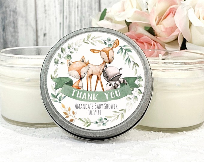 Woodland Baby Shower Favors - Woodland Animals Favors - Forest Friends Baby Shower - Woodland Friends Baby shower - Fall Candle Favors