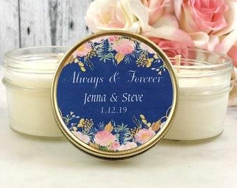 Candle Wedding Favor - Navy Blush Wedding - Wedding Favor for guests - Candle Favor - Wedding Candle Favor - Navy Wedding - Set Of 12 4oz