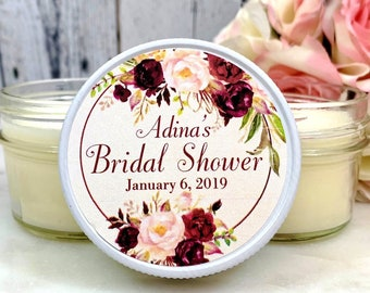 Floral Bridal Shower Favors - Floral Favors - Bridal Shower Candle Favors - Floral Bridal Shower - Burgundy bridal shower