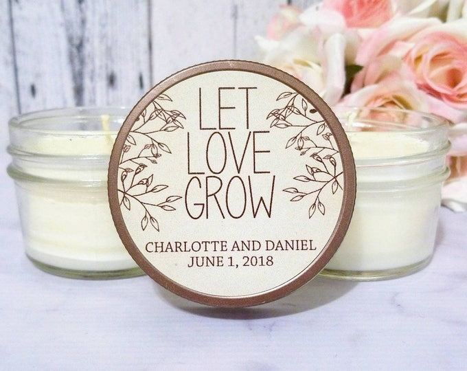 Wedding Favor Rustic - Rustic Candle Favor - Country Wedding Favors - Rustic Wedding - Let Love Grow Wedding Favor - Rustic Favors Set of 12