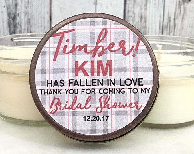 Winter Bridal Shower Favors - Rustic Bridal Shower - Winter bridal shower - Plaid Bridal Shower - Christmas Bridal shower - Set Of 12 4oz