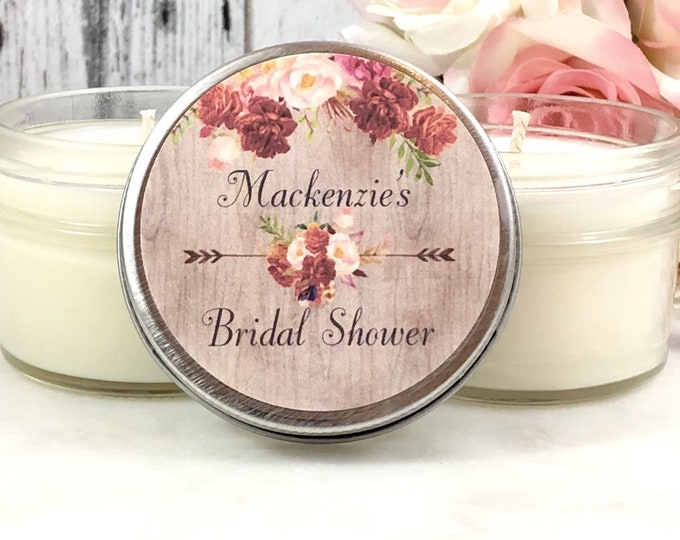 Rustic Bridal Shower Favors Candles - Rustic Bridal Shower - Rustic Wedding - Bridal Shower Candle Favors - Boho Bridal Shower - Set of 12