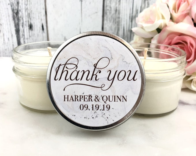 Marble Wedding Favor - Personalized Wedding Favors Candles - Marble Wedding - Wedding Favors for Guests - Wedding Candles - Set of 12