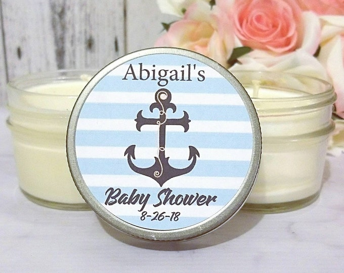 Baby Shower Favors - Nautical Baby Shower Favors - Baby Shower Candle Favors - Anchor Baby Shower - Boy Baby Shower  - Set Of 12 4oz Candles