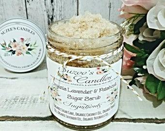 Organic Sugar Scrub - lavender vanilla Sugar Scrubs - Natural Sugar Scrub - Body Scrubs - Essential Oil Scrubs - Sugar Scrub Gift for her