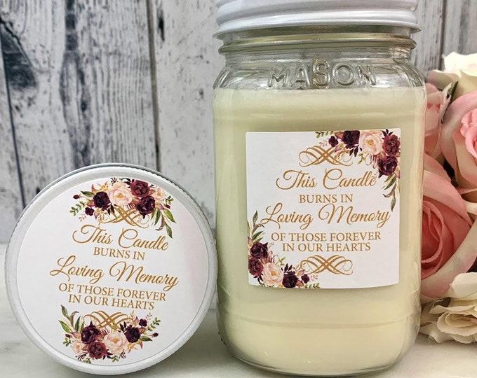 Wedding Memorial Candle - Wedding Memory Candle - Wedding remembrance candle -  Memorial Candle for Wedding - In Loving Memory - Memorial