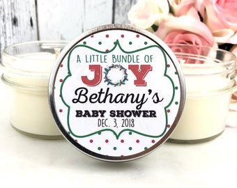 Christmas Baby Shower Favors - Winter Baby shower favors - Christmas Baby Shower - Baby shower Candle Favors - Christmas baby - Set Of 12