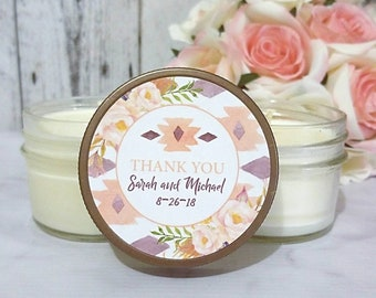 Wedding Candle Favors - Desert Wedding Favors - Aztec Wedding - Candle Party Favors - Soy Candle Wedding - Southwestern Wedding - set of 12