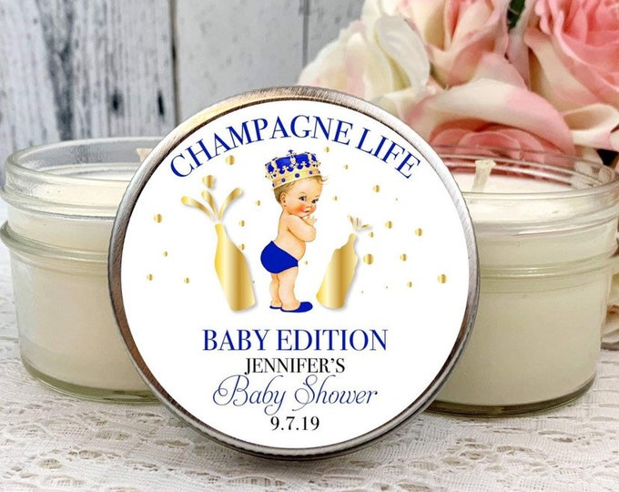 Prince Baby Shower Favors - Boy Baby Shower - Baby shower Candle Favors - Prince Baby Shower - Navy and Gold Baby Shower - Baby Shower Favor