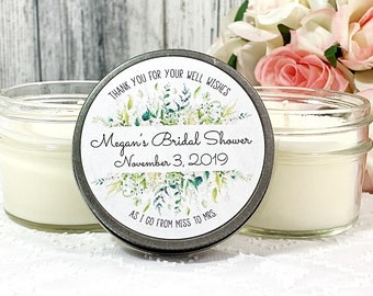 bridal Shower Favors candles - Greenery Bridal shower - Greenery Favor - Bridal Shower Party - Soy Candle Favors - Outdoor wedding Set of 12