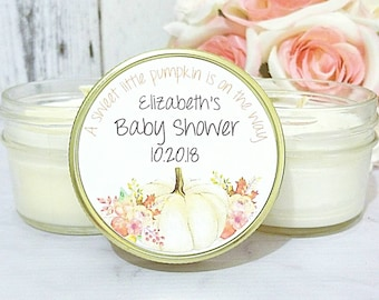 12 Pumpkin Baby Shower Favor - Fall Baby Shower Favor - Our Little Pumpkin Favor - Baby Shower Candle Favor - Fall Baby Shower Set of 12 - 4