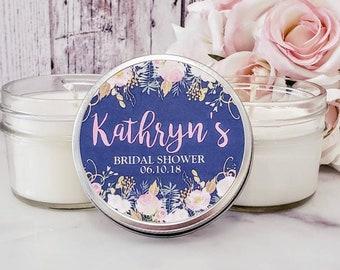 12 Navy Blush Bridal Shower Favors Candles - Navy Bridal Shower Favors - Blush Bridal shower - Navy & Blush Wedding Bridal Shower Candles