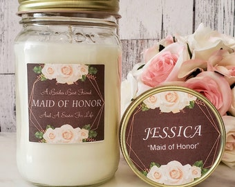 Maid Of Honor Gift - Maid of Honor Candle - Maid Of Honor - Soy Candle gift - Maid Of Honor Sister / Best Friend - Wedding Day Gift