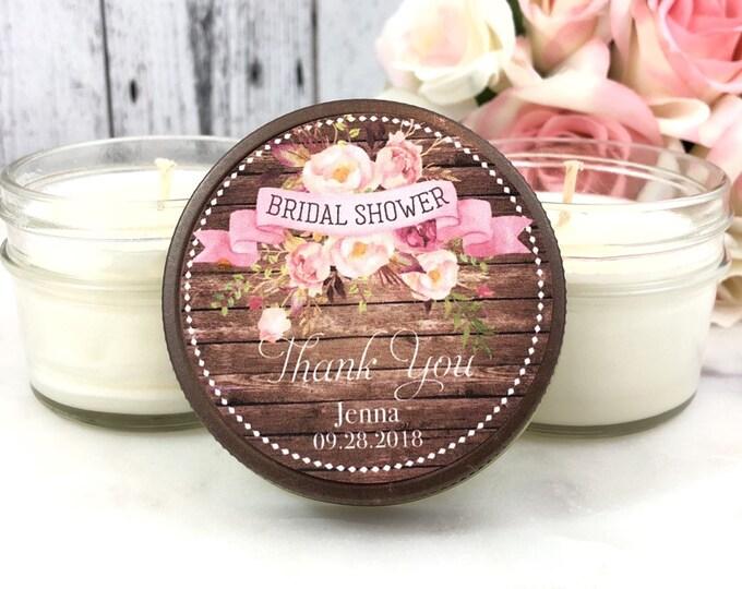 Rustic Bridal Shower favor - Bridal shower Candle Favors - Blush Bridal Shower - Rustic Favors - Barn Bridal shower Favor - Set of 12