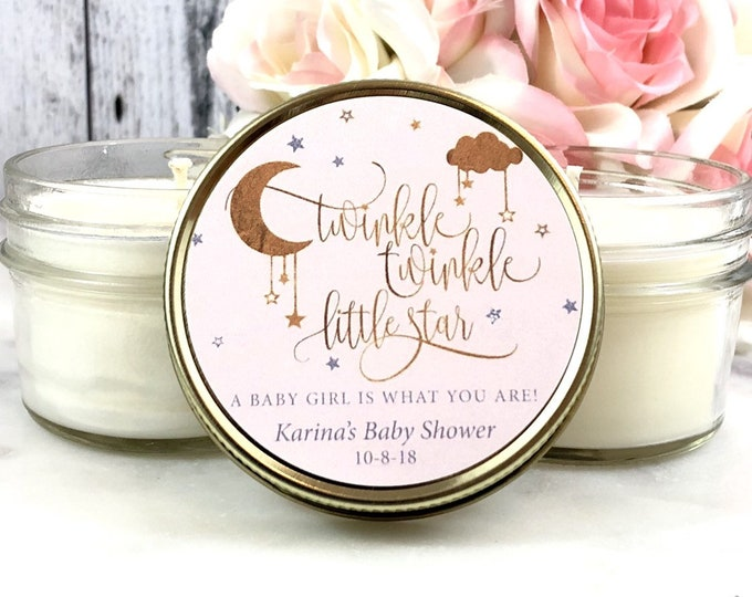 12 Baby shower Candle Favors - Twinkle Twinkle little Star Baby shower Favors - Girl baby shower Favors - Pink and Gold Baby shower Candles