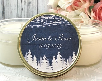 Navy Wedding Favors Candles - Wedding Candle Favors - Navy And White Wedding - Wedding Candles - Wedding Favors For Guests - Navy Wedding