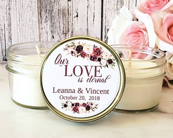 Wedding Favor Candles - Marsala Wedding - Burgundy Wedding Favors - Candles For Wedding Favors - Wedding Gifts For Guests - Candle Favors