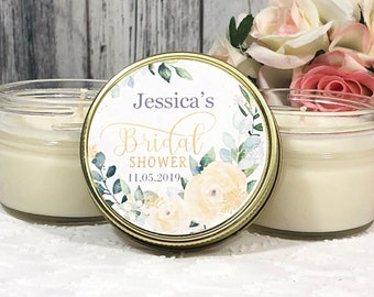Greenery & Gold Bridal shower Favor Candles - Bridal Shower Candles Favors - Elegant Bridal shower - Personalized favors - Greenery Wedding