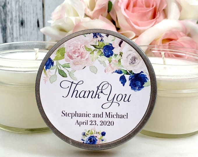 Navy and blush wedding Favors - Navy and Blush wedding - Navy Blush Wedding Favors - Wedding Favor candles - Navy Wedding Favors set of 12