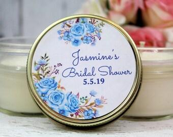 Blue Floral Bridal shower Favor - Light Blue Bridal shower - Blue Floral Bridal Shower - Floral Favors - Bridal Shower Favor - Candle Favors