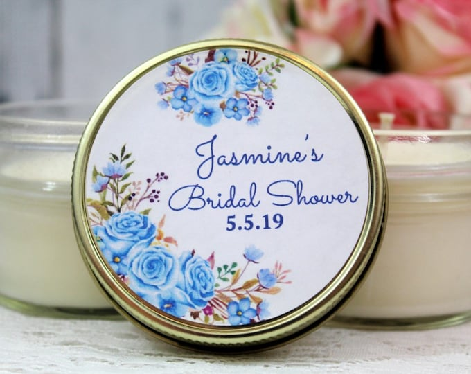 Blue Floral Bridal shower Favor - Light Blue Bridal shower - Blue Floral Bridal Shower - Floral Favors - Bridal Shower Favor - Candle Favors