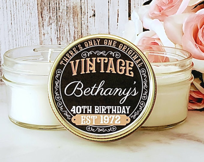 Birthday Party Favors - 40th Birthday Favors - Vintage Birthday - Birthday Favors - Birthday Candles - 40th Birthday Party favor set of 12