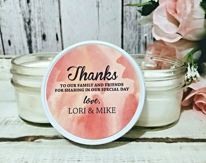 Peach Wedding Favors - Watercolor Wedding - Peach Wedding - Summer Wedding Favors - Soy Candle Favors - Set of 12 - 4oz Candle