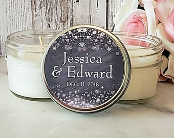 12 Winter Wedding Favor - Wedding Candle Favor - Winter Wedding - Snow Wedding - Christmas Wedding favors - The Wedding Of - Winter Favors
