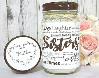 Sister Gift - Unique Gift for Sisters - Sister Candle - Gift For Sister - Mason Jar Candle - Sister Birthday Gift - 16 oz Soy Candle