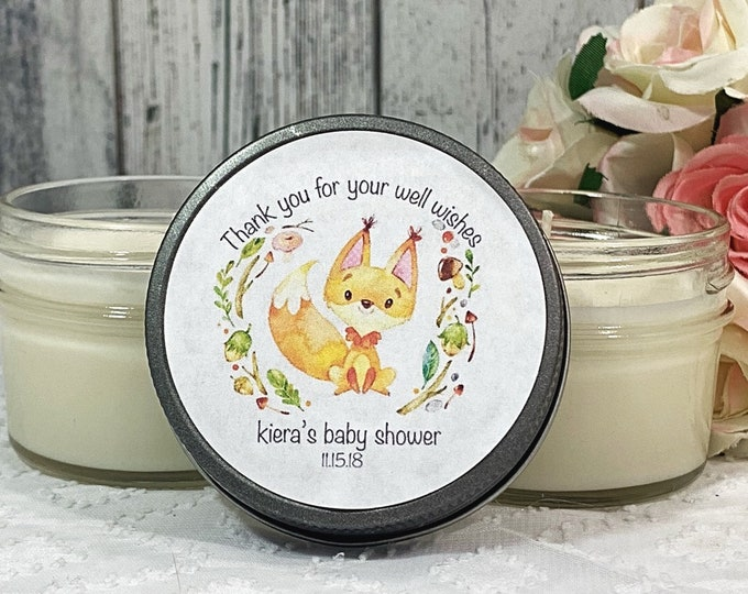 Fox Baby Shower Favors - Baby Shower Candle Favors - Woodland Favors - Woodland Baby Shower - Fox Baby Shower - Candle Favors Set Of 12