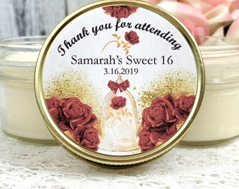 Royal Sweet 16 Party Favors - Beauty and the beast sweet 16 - Royal Birthday Theme - Sweet 16 Candle Favors - Sweet 16 - Royal Party Favors