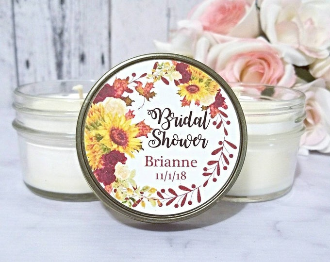 12 Fall Bridal Shower favors - Bridal Shower Candle Favors - Fall Wedding Favors - Fall Bridal Shower - Rustic Candle Favors - Fall Favors