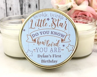 Birthday Party Favors - First Birthday Favors - Candle Party Favors - Birthday Party - Twinkle Twinkle Little Star First Birthday Set Of 12