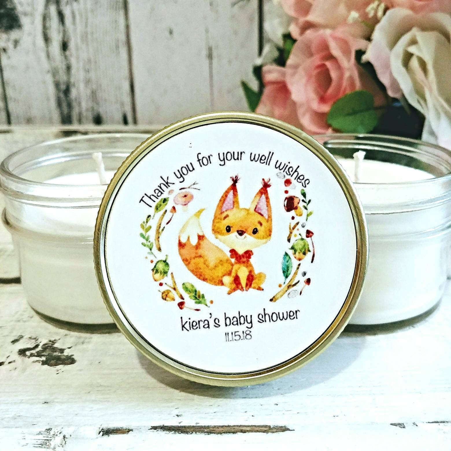 Woodland Baby Shower Favors   Baby Shower Candle Favors   Woodland Favors   Woodland  Baby Shower   Fox Baby Shower   Candle Favors Set Of 12