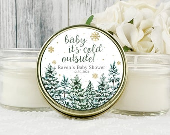 1 - 4oz Baby it's Cold Outside Favors , Winter Baby Shower Favors , Snowflake Favors , Girl Baby Shower , Boy Baby Shower , Candle Favors