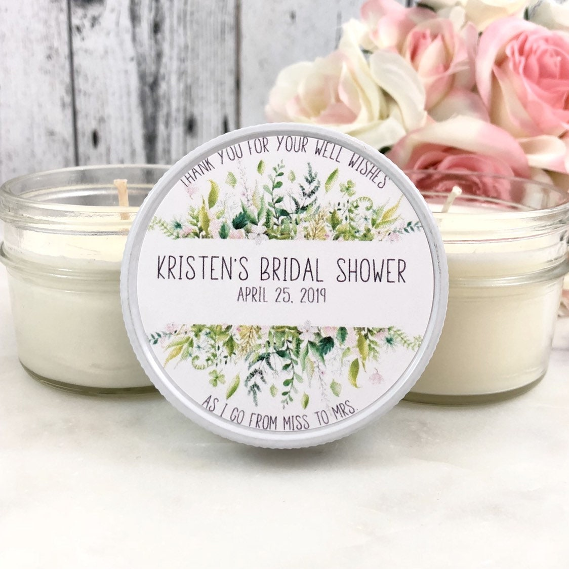 bridal shower favors candles greenery bridal shower greenery favor bridal shower party soy candle favors outdoor wedding set of 12