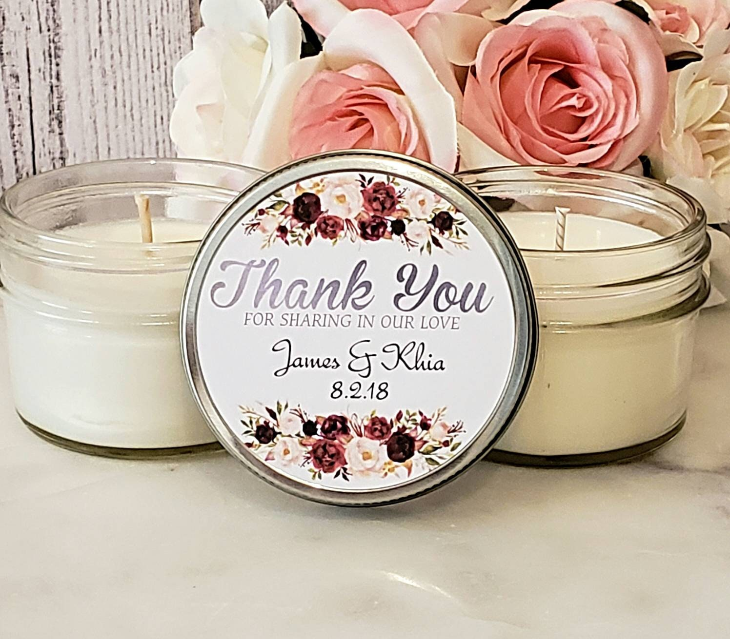Burgundy Wedding Favors Candles - Burgundy and Blush Wedding ...