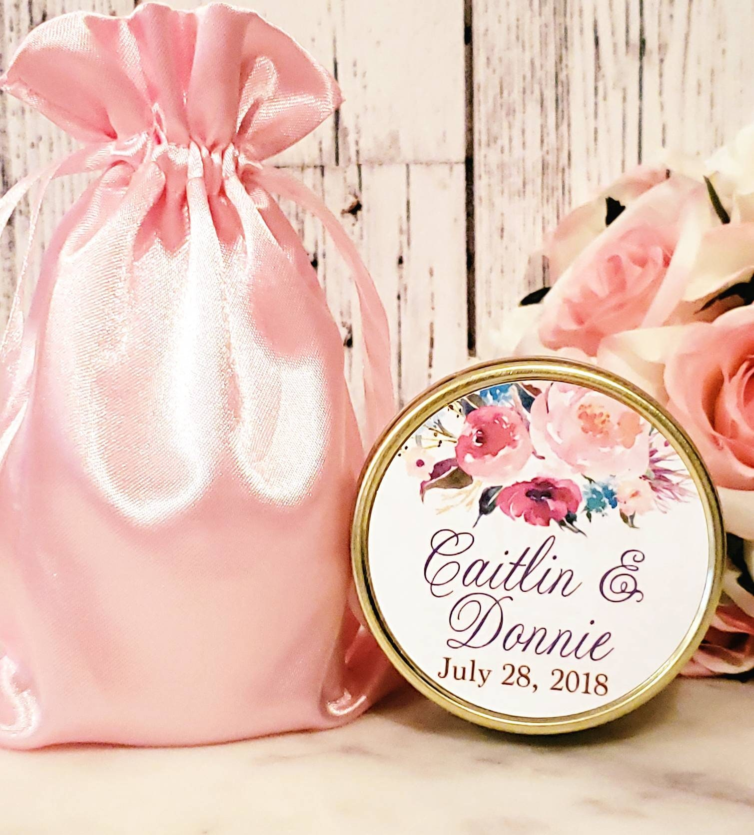 Blush & Gold Wedding Favor - Floral Wedding Favor - Wine Wedding ...