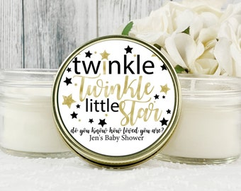 1 - 4oz Black and Gold Baby Shower favor , Twinkle Little Star Baby Shower , Neutral Baby Shower Favor , Star Baby Shower Favors