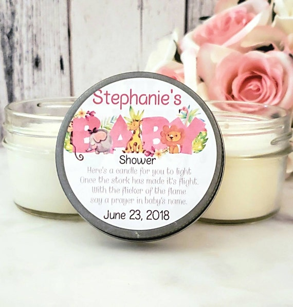 12 Safari Baby Shower Favors Pink Safari Baby Shower Girl Safari Baby Shower Girl Baby Shower Candle Baby Shower Favor Candles