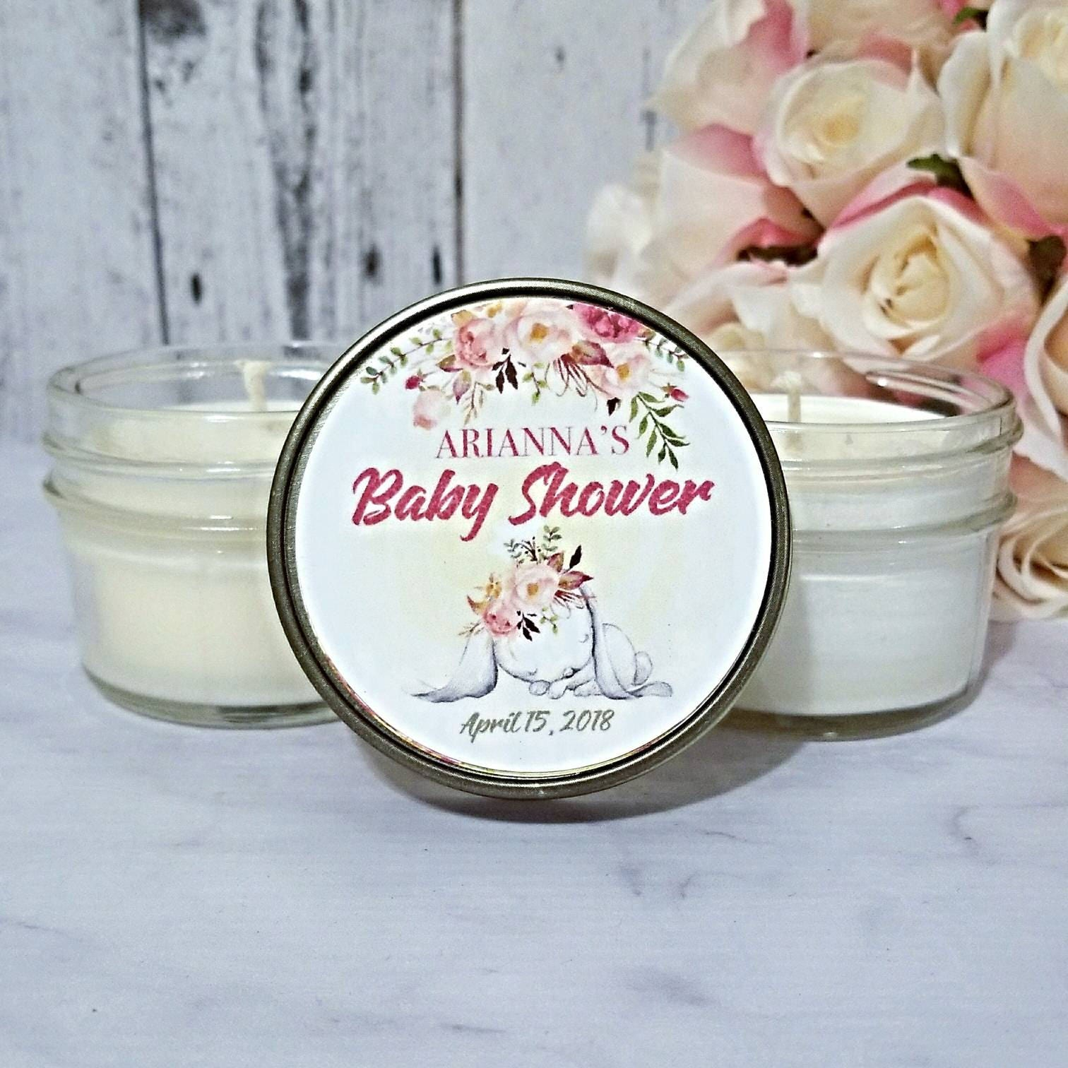Girl Baby Shower Favors Candles Bunny Baby Shower Favors Blush