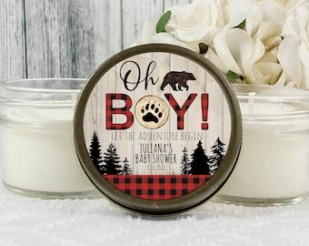 1 4oz Lumberjack Baby Shower favors , Buffalo Plaid baby Shower , Mountain Baby Shower , Baby Shower Candle Favor