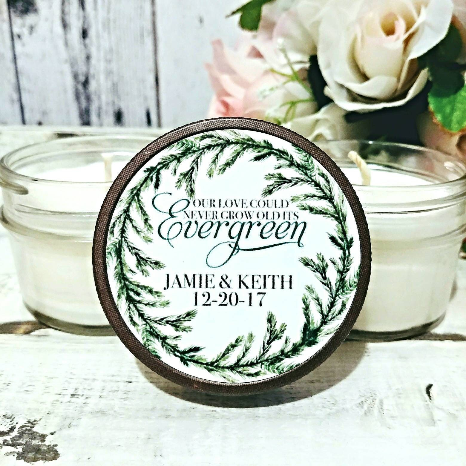 Set of 12 - 4oz Wedding favor Candles - Christmas Wedding Favors ...