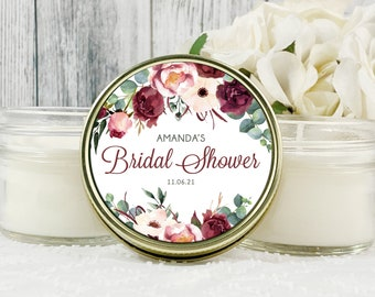 1 - 4oz Burgundy Bridal Shower Favors , Burgundy and Blush Bridal Shower , Fall Bridal Shower Favor , Personalized Candle Favors