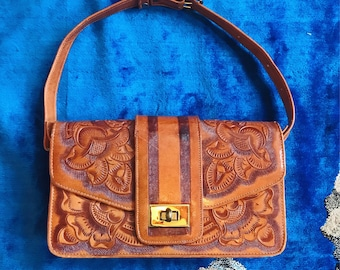 70s hand tooled leather bag
