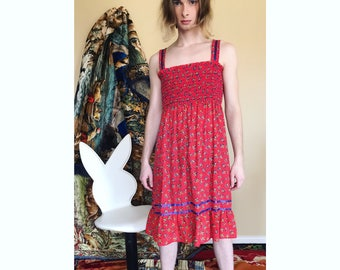 70s floral cotton sun dress