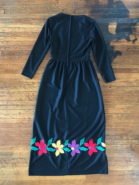 70s floral embroidered maxi dress - image 4