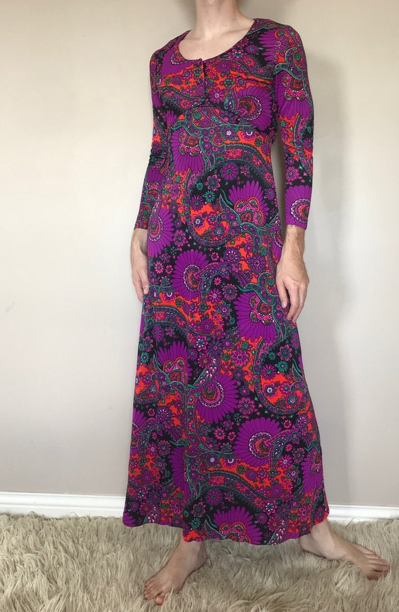 60s/70s Paisley and floral maxi dress with matchin